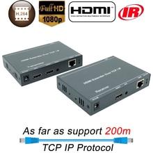 HDMI Splitter Over IP Extender 200m Over CAT5 CAT5e CAT6 RJ45 Ethernet Cable HDBitT LAN Transmitter