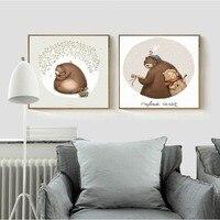 Nordic Плакат Симпатичный Медведь Музыкант Животных Холст для Живописи Декоративного Рисунка для Детская Комната Подарок Душа Ребенка