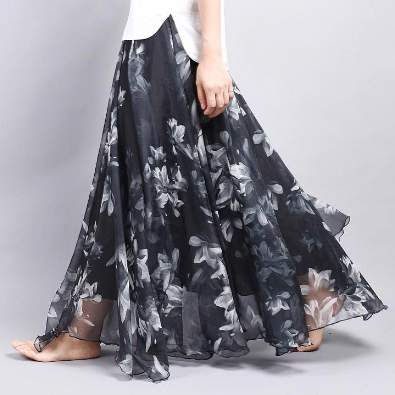 2019 Summer Skirt Vintage Bohemia Chiffon Floral Printed Maxi Skirt Boho Floor-length Beach Style Fairy Skirt Free Shipping