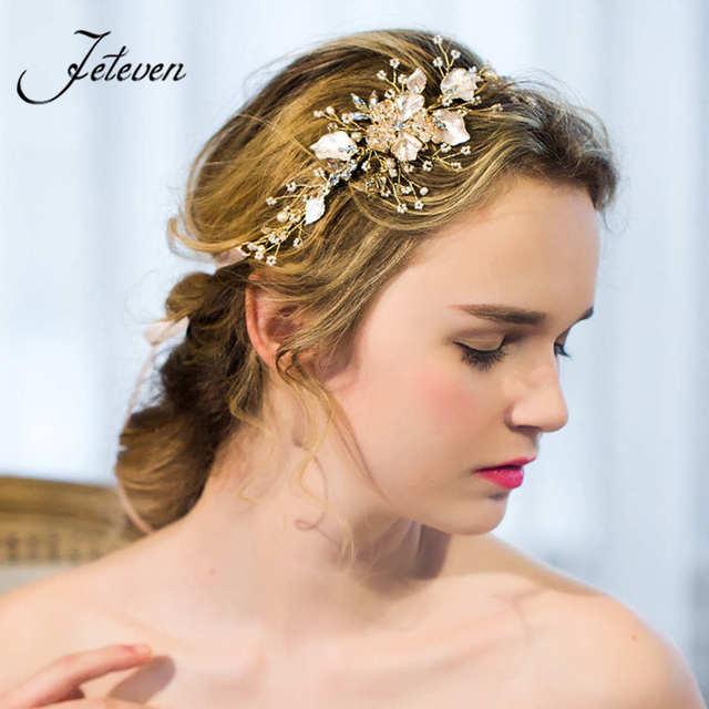 3b8a4410807e Di lusso In Oro Rosa copricapo da sposa Matrimonio Romantico Accessori Per  Capelli Di Cristallo Pettini ...