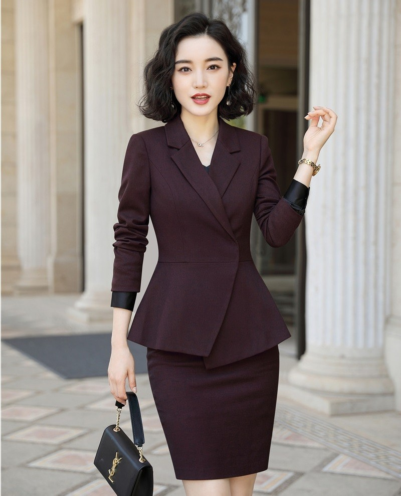 Fashion Wine High Quality Fabric Formal Women Business Suits With Blazer And Skirt Ladies Professional Work Wear Blazers Outfits