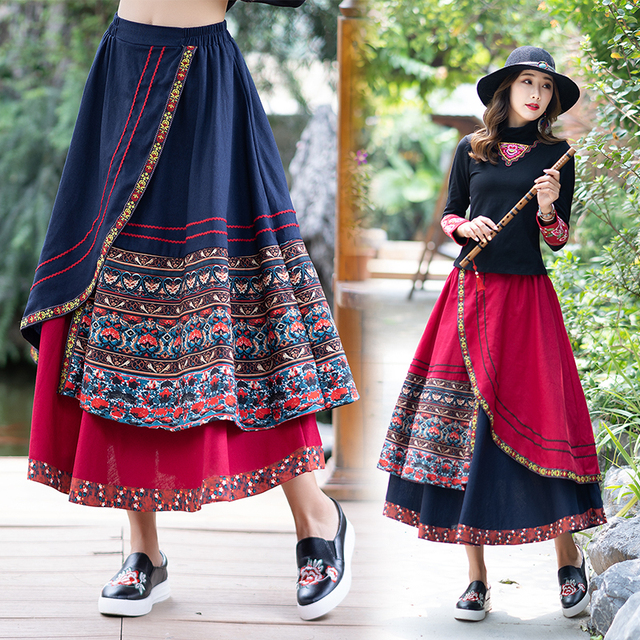 KYQIAO women ethnic skirt female autumn winter Mexico style hippie original boho long blue red patchwork embroidery midi skirt