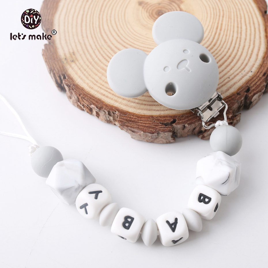 Let's Make 1PC Baby Teether Silicone Animal Bear Pacifier Clip Customize Name Pacifier Clip Unisex Trendy Baby Show Nurse Gifts