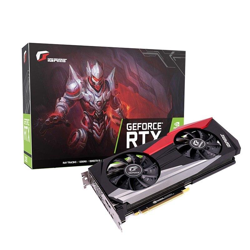 RENKLI iGame GeForce RTX 2080 Ti Oyun video grafik kartı 11 GB GDDR6 TU102 Çekirdek 90mm Çift Fanlar 352Bit 1350 Mhz /1545 Mhz