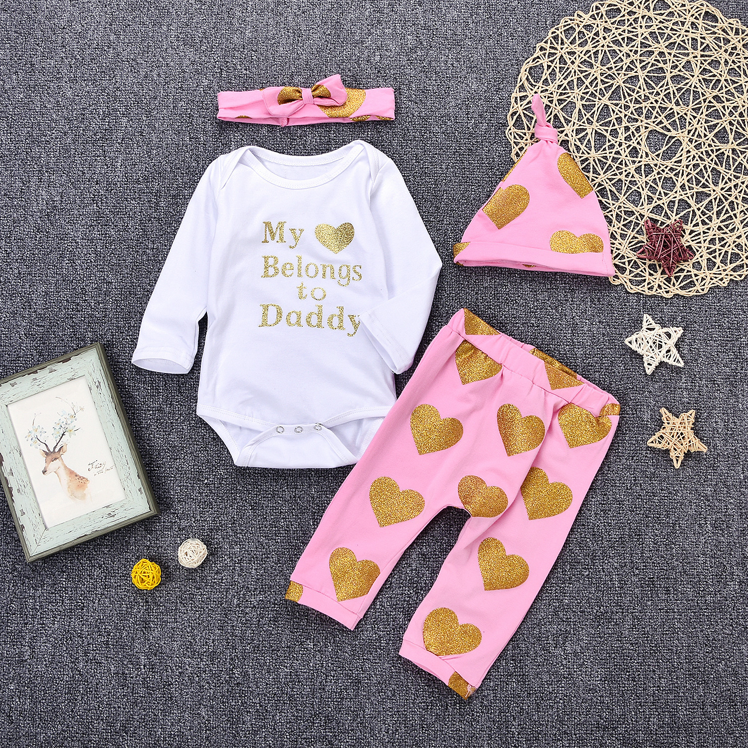 4PCS Pink Infant Set Newborn Baby Girls Outfits White Heart Sequined Long Sleeve Romper + Pants Autumn Kids Clothes