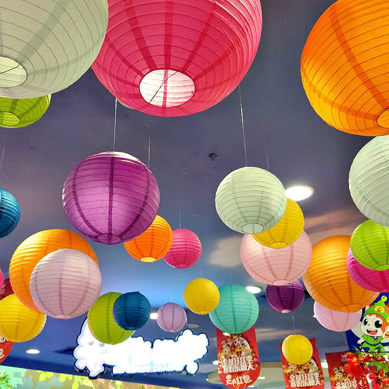 High Quality 10-15-20-25-30-35-40cm Round Chinese Lantern Variety Of Color Paper Lanterns For Wedding Party Decorations Supplies