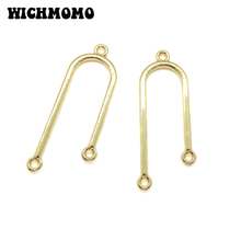 2019 New 41*14mm 6pieces/bag Zinc Alloy Gold U Shape Porous Connector Charms Linker for DIY Necklace Earring Jewelry Accessories