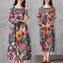 Autumn 2017 New Large Size Women Cotton Printed Folk Style Long Sleeve Dress Fashion Drawstring Robe