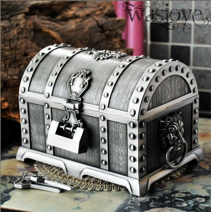 Pirates of the Caribbean Treasure Chest with Lock 2 Layers Vintage Jewelry storage Box Carrying Case