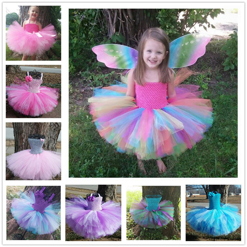 dec6d75538ff9 Colorful Flower Girl Tutu Dress Cute Tulle Princess Ball Gown For Girls  Rainbow Fairy Dress Kids Baby Girl Birthday Party Dress