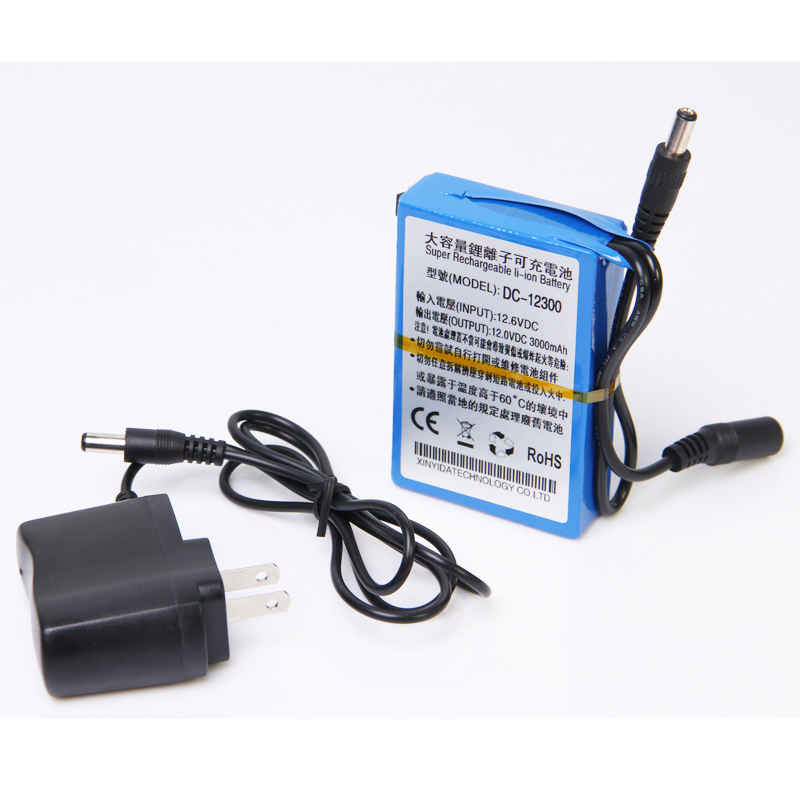 New DC 12v battery 9800mah rechargeable lithium ion polymer cell + 1pcs charger for CCTV camera system UPS Backup power supply