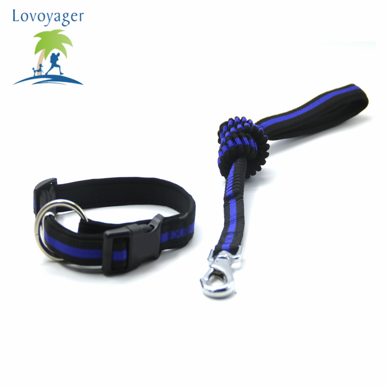 Lovoyager Candy Color Pet Adjustable Dog Collar Leashes Soft Elastic Running Jogging Leashes For Small Larger Dog
