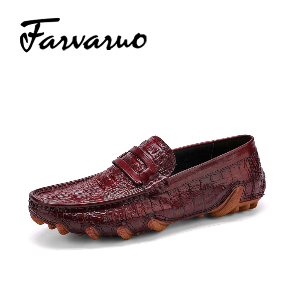 Farvarwo Italian Handmade Genuine Leather Crocodile Shoes Men Luxury Brand Casual Shoes Summer Fashion Slip-On Mocassins Loafers farvarwo genuine leather alligator crocodile shoes luxury men brand new fashion driving shoes men s casual flats slip on loafers