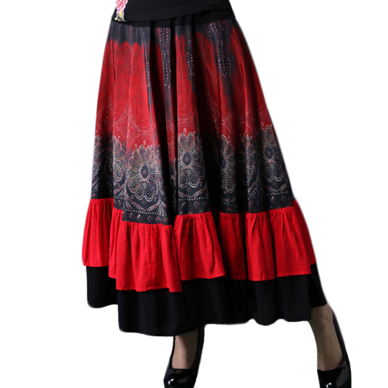d9ea32341e9 Ethnic Bohemian Skirt Women Floral Printed Long Gypsy Skirts 2019 New  Fashion Wide Bottom Elastic Waist Ruffled Skirt-in Skirts from Women s  Clothing on ...
