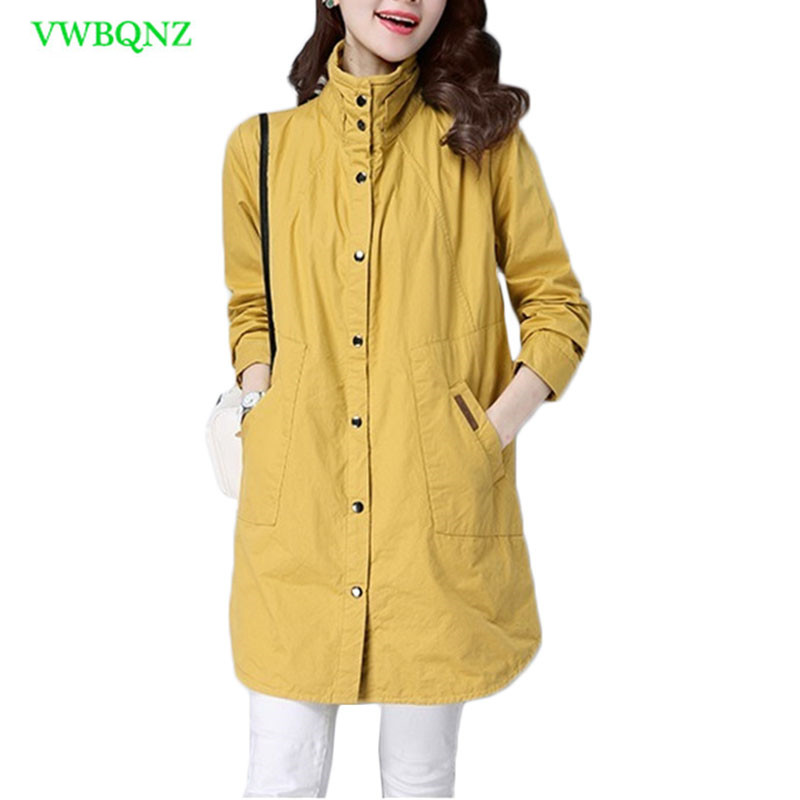 Windbreaker Coat Female Long Spring Autumn New Korean Casual Loose Standing collar Outerwear Coats Women's   Trench   Coats 3XL A615