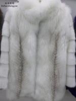 Linhaoshengyue 80CM long standing collar cross fox mink sleeve coat