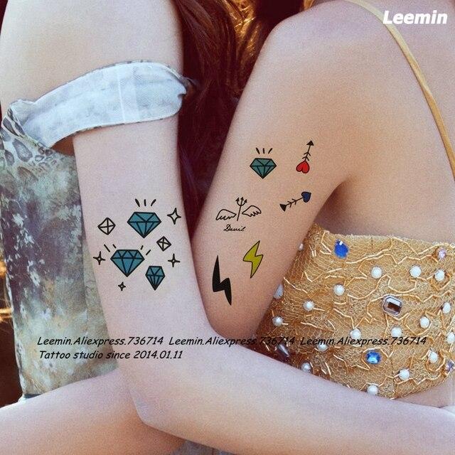 Leemin Tatoo Temporal Color Diamante Pluma Espada Simbolo Relampago