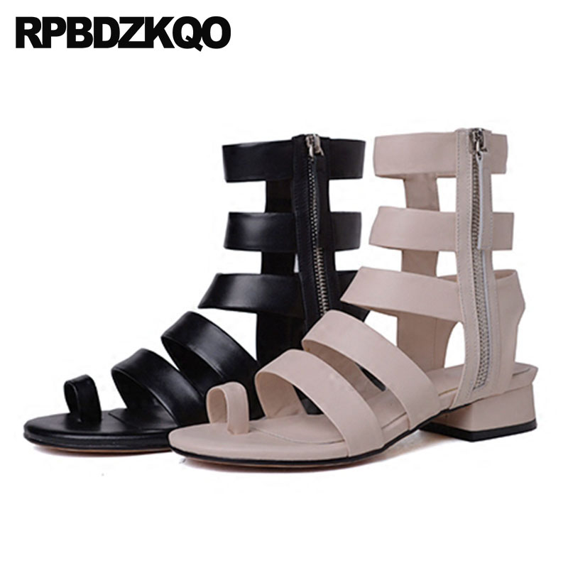 9e1e0cfac361 Roman Shoes Chunky Strappy Genuine Leather Low Heel Gladiator Strap Open  Toe Ring Knee High Sandals Designer 2018 Thick Women