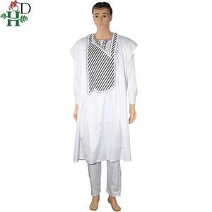 Image 2 - אין כובע אפריקאי בגדי גברים דאשיקי אב בן ילד ילדי חליפות חולצות חולצה צפצף 3 חתיכות סט רקמה לבן אפריקאי mens בגדים