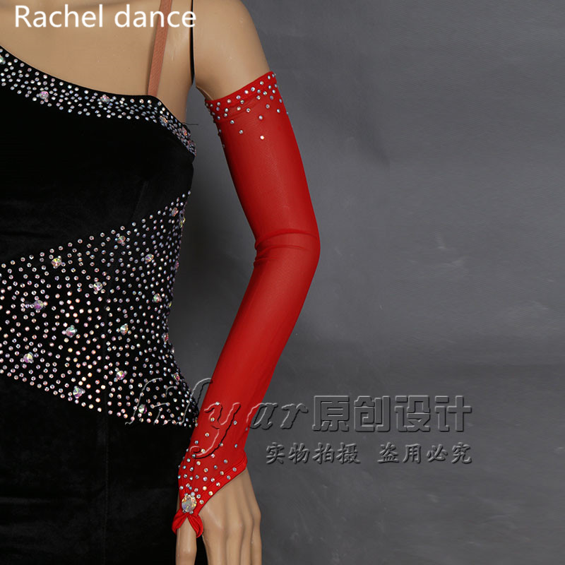 Black Red Purple Blue Green Sequins Sexy Lady Disco Latin Dance Costume Party Fingerless Long <font><b>Gloves</b></font> Wholesale
