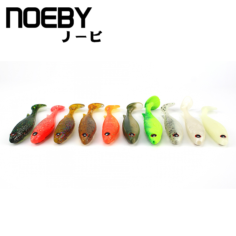 NOEBY 4pcs/lot Soft Lure 100mm/8g for Fishing Worm LEAD JIG Head T-Tail Fishing Tackle Fishing lures Swimbait 3D Eyes Soft Bait 1pcs 3d eyes long tail luminous soft fishing lure abdomen open hook soft bait 12 5cm 6g jig head soft lure fly fishing baitt