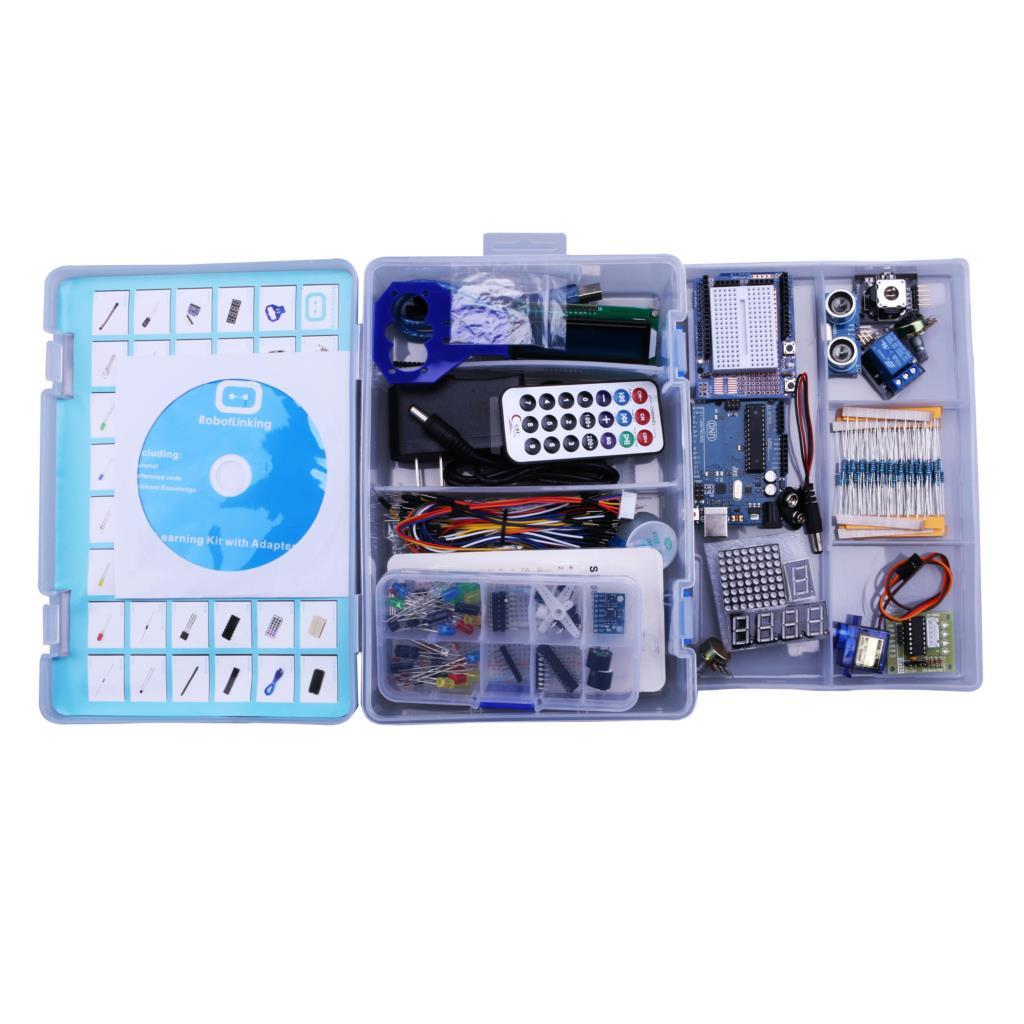 Elego UNO Projet La Plus Complete Starter DIY Kit pour UNO Mega2560 Nano avec Tutoriel/Alimentation/Pas À Pas moteur