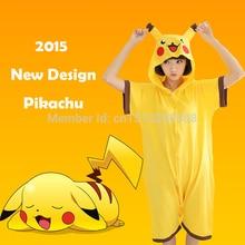 Woman Man Summer Pokemon Pikachu Sleepwear Pajamas Short Sleeved Halloween Carnival Cartoon Anime Cosplay Costume Jumpsuit