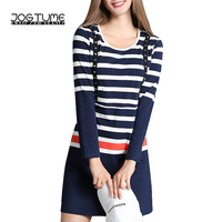 Amoyblue Trendy Striped Dress Sale 2017 Fall Red Blue Women Casual Bodycon Stripe Dresses Cotton Ladies