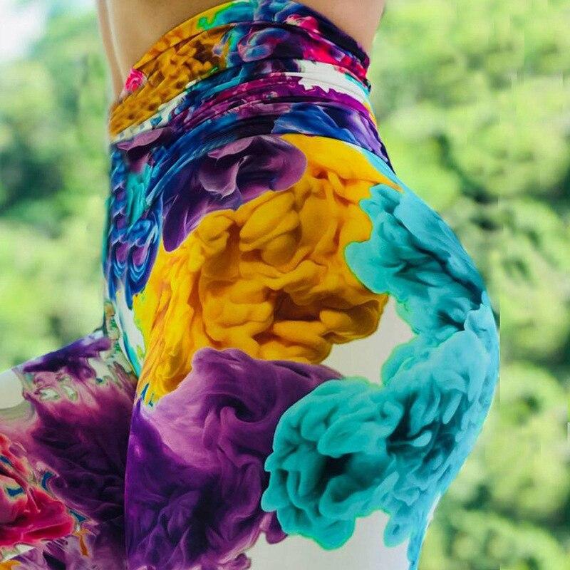 2019 3D Print Sporting Sexy Rainbow Colorful Printing Leggings Put Hip Elastic High Waist Legging Breathable Merry Flower Pants