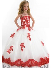 Holy Girls Pageant Dress 2016 Hot Sale White and Red Floor Length Tulle Ball Gown Flower Girls Wedding Party Dress C225