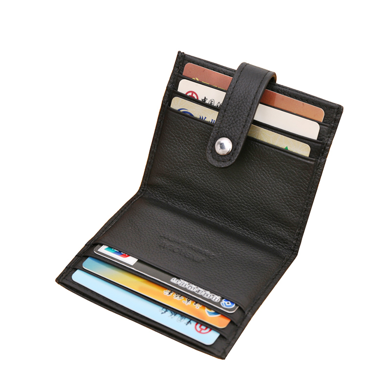 New Hasp Genuine Leather Business ID Cards Holders Black Coffee Solid Credit Card Holder For Unisex Designer Free Shipping silicone cartoon cute id credit card holder bus card student id badge id name business credit cards cover unistyle