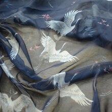 [cat fabric] fresh Classic Crane printed Skysilk chiffon 3-Color DIY Fashion Chinese clothing fabric