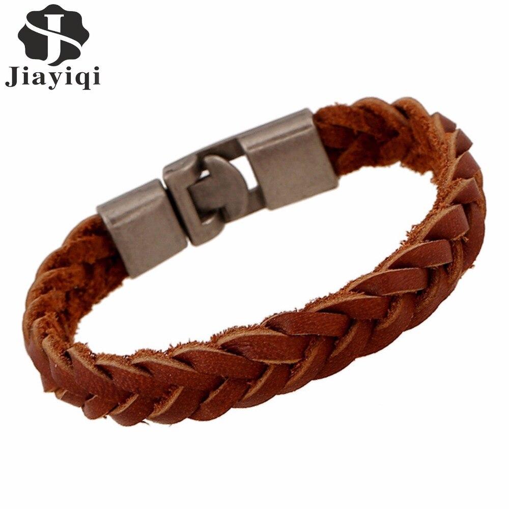 Jiayiqi панк браслет модные коричневые кос Пояса из натуральной кожи браслет Летний Стиль серебро Цвет веревка браслет для Для женщин Для мужч...