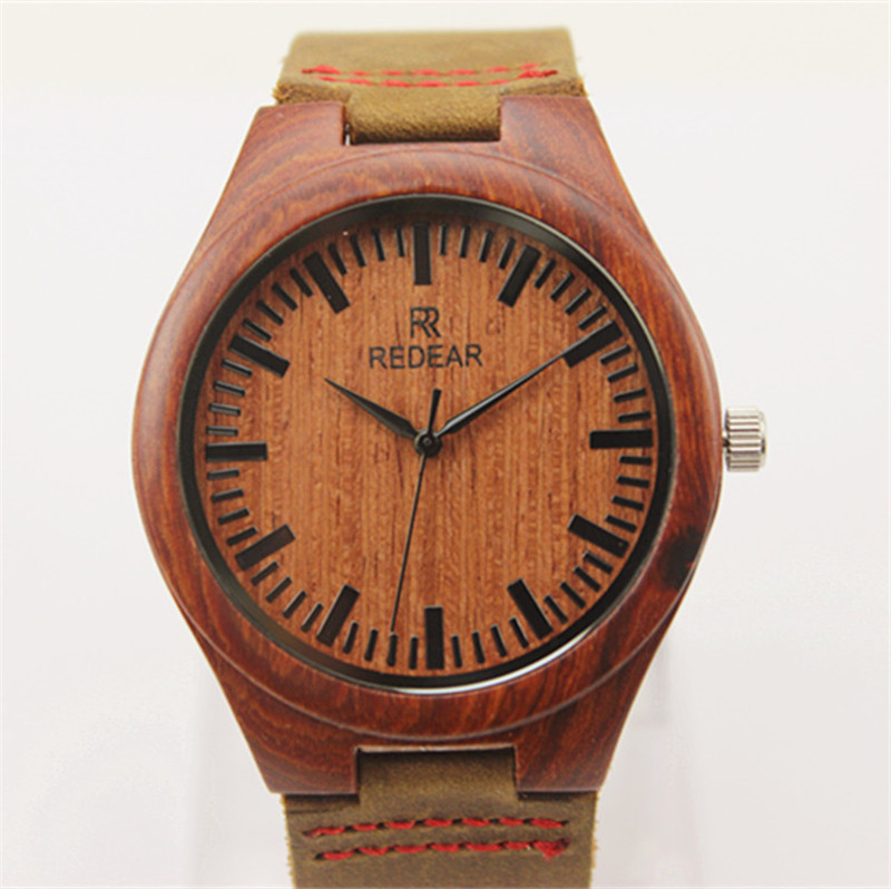 ФОТО 2017 HOT! New Wooden Fashion Men Wristwatch Genuine Leather strap Analog Display Quartz Casual Watch Masculino Relogio