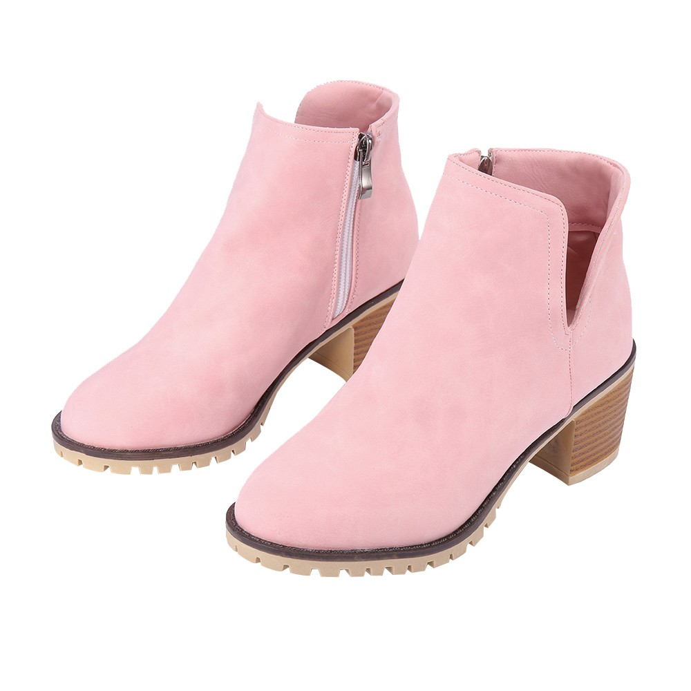 New Fashion European Style Black Ankle Boots Low Heel Thick Heel Zipper Martin Boots PU Leather Woman Shoes