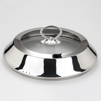 Stainless steel general transparent glass flat bottom frying pan lid household vertical oil proofing skillet wok pot cover