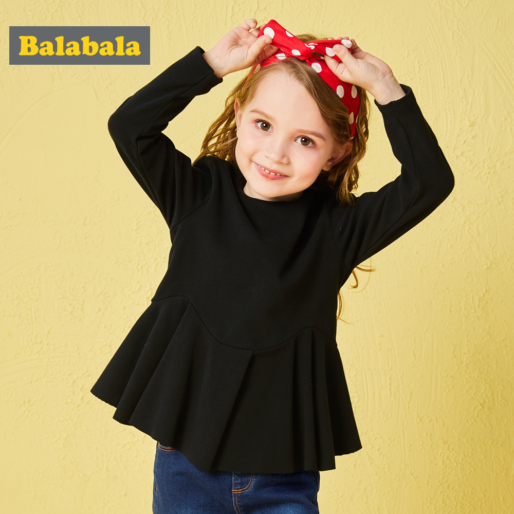 Balabala childrens autunm t-shirts for girls enfant Children clothing kids girl clothes with cute Ruffles casual o-neck teeBalabala childrens autunm t-shirts for girls enfant Children clothing kids girl clothes with cute Ruffles casual o-neck tee
