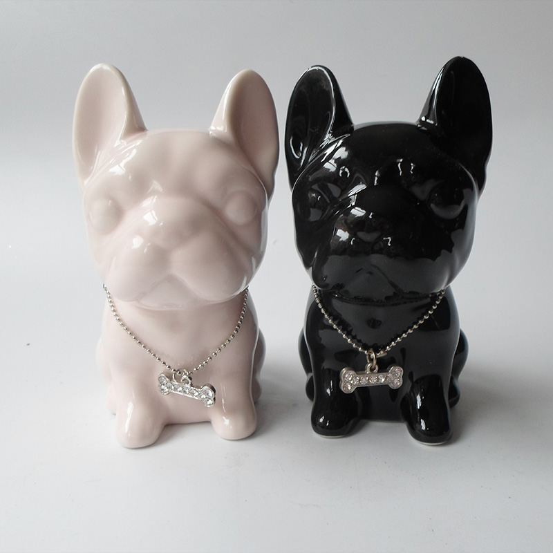 ceramic Bulldog home decor crafts room decoration ceramic French Bulldog ornament porcelain animal figurine decoration