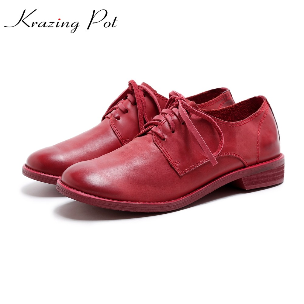 Krazing Pot brand shoes genuine leather round toe lace up med heels cozy women lazy fashion girl autumn European lady pumps L13 2017 shoes women med heels tassel slip on women pumps solid round toe high quality loafers preppy style lady casual shoes 17