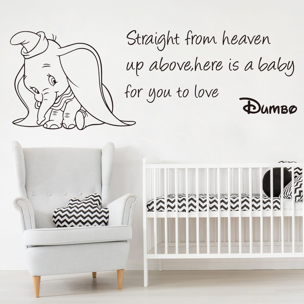 US $6.31 17% OFF|Straight From Heaven Dumbo Elephant Quote Wall Decal Baby  Nursery Kids Room Animal Dumbo Inspirational Quote Wall Sticker Vinyl-in ...