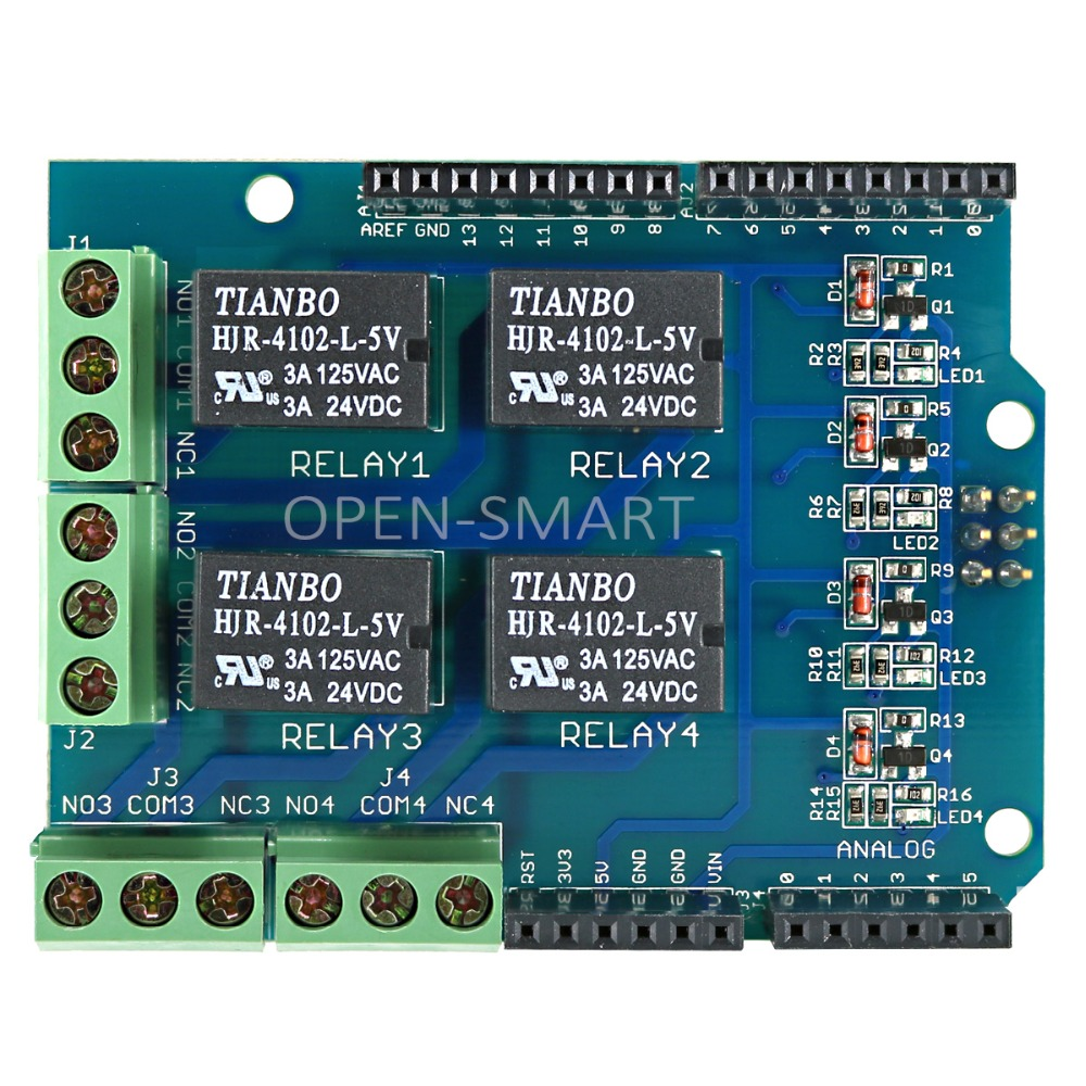 Relay Shield 5V 4-Channel Relay Board Modul untuk Arduino Shield