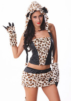Free Shipping High Quality Halloween Costumes Sexy Leopard Big Tail Wolf Suit Catwoman Cosplay Costume