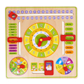 Education Toys for Children Learn Educational Calendar Mouths Clock Date Weather Week Season Puzzles Wooden Toy