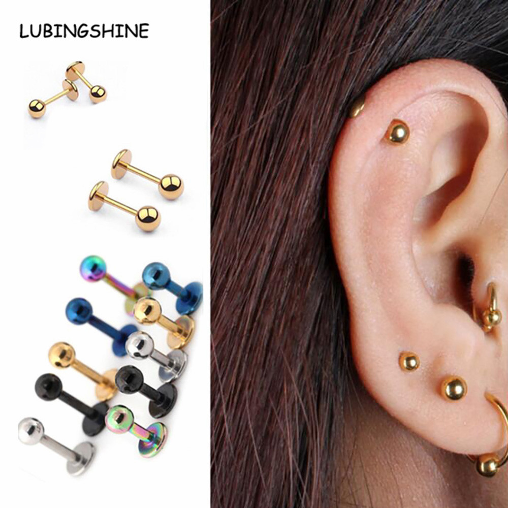 1 Piece Small Earrings Medical Titanium Steel Stud Earring Punk Rod Flat T-Type Screws Male Ear Nail Piercing Jewelry Women