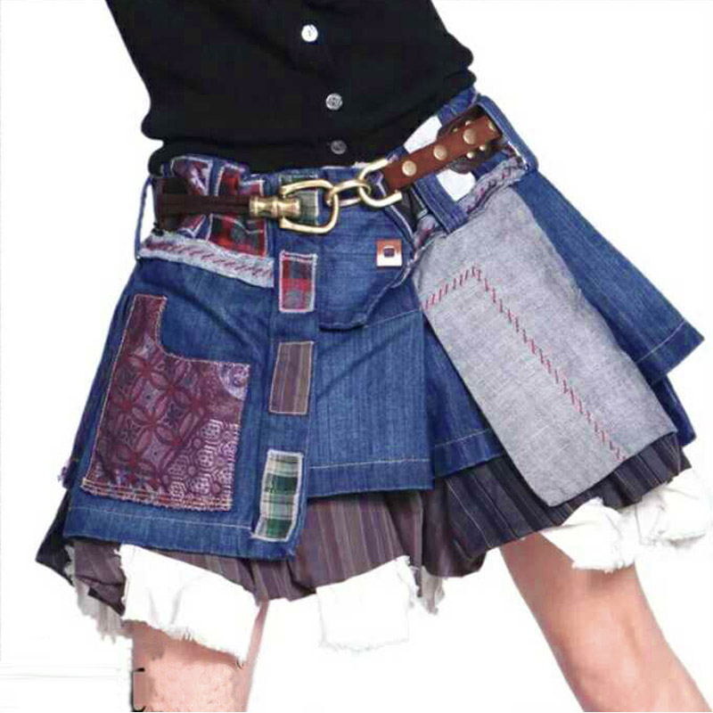2019 Female Large <font><b>Plus</b></font> <font><b>Size</b></font> 6XL <font><b>7XL</b></font> Vintage Retro Casual Cute Jeans Denim Short Mini Pleated Skirt Designs Skirts for <font><b>Womens</b></font> image