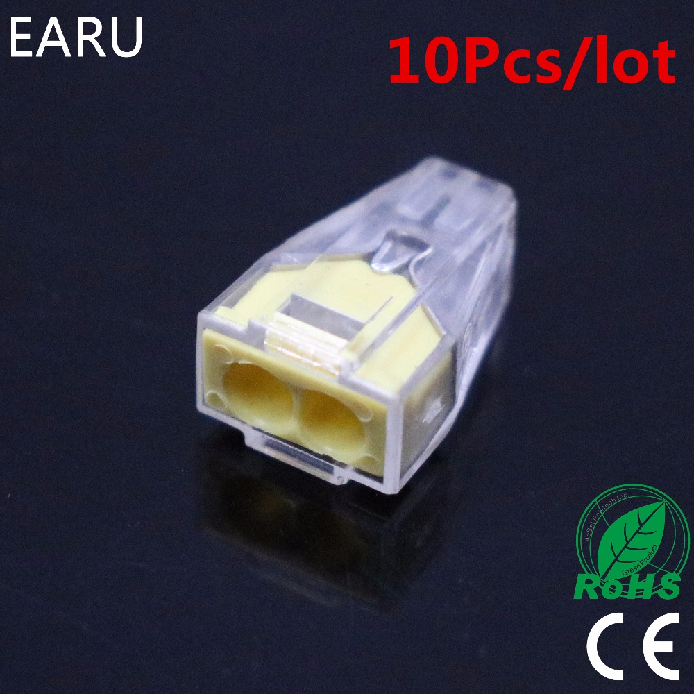 10pcs PCT-102 PCT102 WAGO 773-102 Push wire wiring connector For Junction box 2 pin conductor terminal block wire connector Hot 50pcs pct 102 wago 773 102 push wire connector 2 pin conductor terminal block cable connector