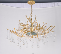 Phube Lighting Artistic Branches Crystal Chandeliers Light Water Drops Chandelier Light Colored Glazed Salon Copper Chandelier