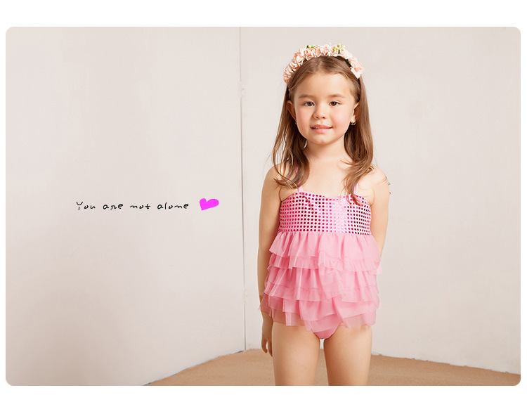 2016 girls bathing suit kid swimwear children one piece swim wear Pink Yellow Green lovely girl swimsuit 3-12T swimmer - Summer Trade store