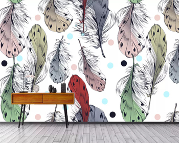 beibehang Custom Modern 3d Wallpaper Nordic Hand Drawn Art Feather Decoration Background papel de parede wall papers home decor