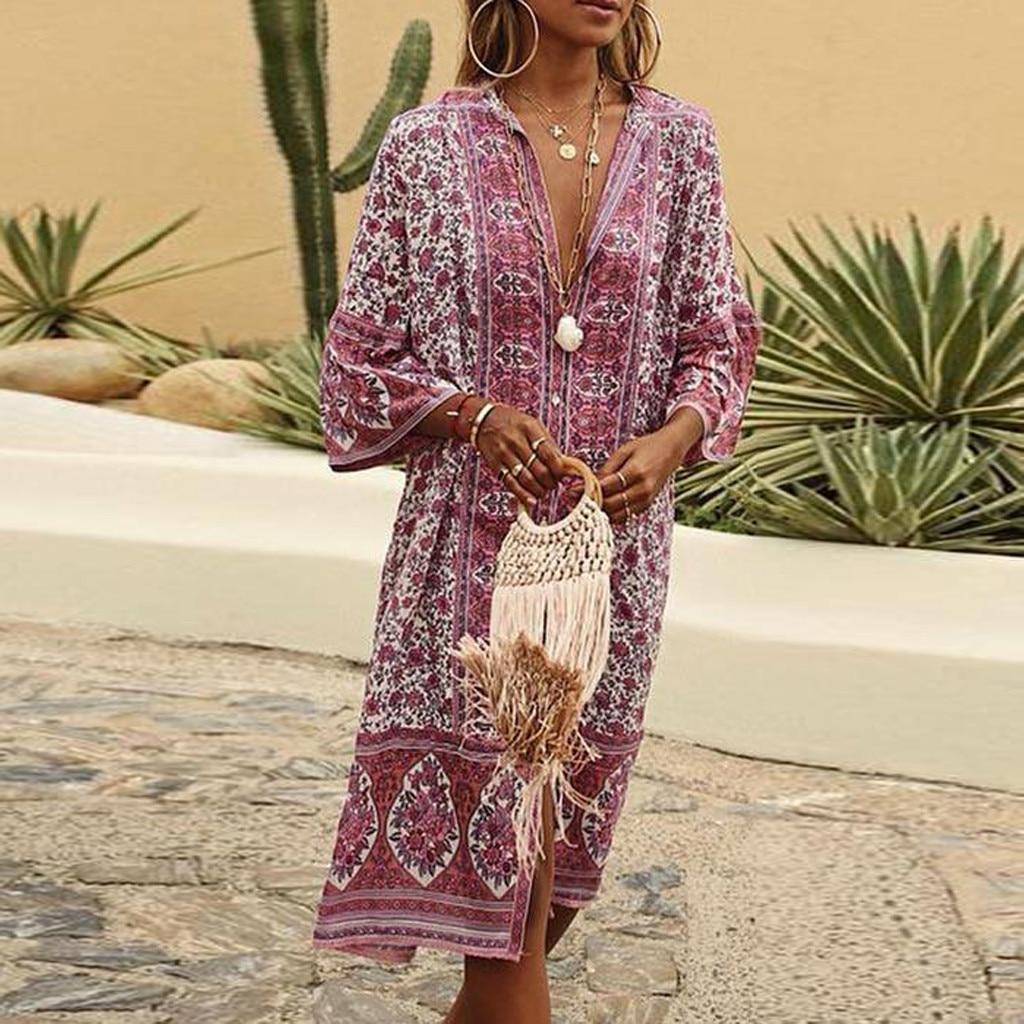 Women Summer Maxi Dress Boho Flowers Print Button Down Flare Sleeve Loose Dress Casual Dresses Woman Party Night Beach Dresses